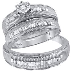1/4 CTW His Hers Round Diamond Solitaire Matching Wedding Set 10kt White Gold - REF-47M6F