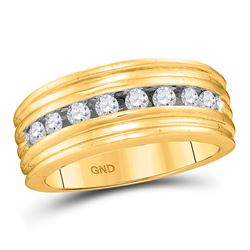 1/2 CTW Mens Round Diamond Ridged Single Row Wedding Band Ring 10kt Yellow Gold - REF-49W6H