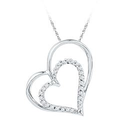 1/8 CTW Womens Round Diamond Double Heart Outline Pendant 10kt White Gold - REF-12A2M