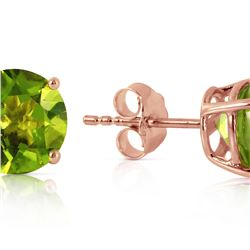 Genuine 3.1 ctw Peridot Earrings 14KT Rose Gold - REF-23X9M
