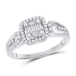 3/8 CTW Womens Baguette Diamond Fashion Cluster Ring 14kt White Gold - REF-54N5A