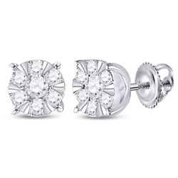 1/4 CTW Womens Round Diamond Fashion Cluster Earrings 14kt White Gold - REF-27M3F