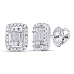 1/2 CTW Womens Baguette Diamond Cluster Earrings 14kt White Gold - REF-64T8V