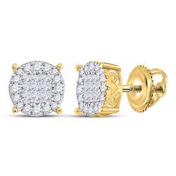 1/2 CTW Womens Princess Diamond Fashion Cluster Earrings 14kt Yellow Gold - REF-53V3Y