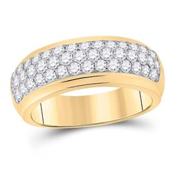1 & 1/2 CTW Mens Round Diamond Pave Band Ring 14kt Yellow Gold - REF-129Y5N