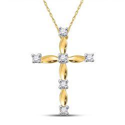 1/20 CTW Womens Round Diamond Cross Pendant 10kt Yellow Gold - REF-8M3F