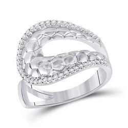 1/4 CTW Womens Round Diamond Modern Scale Fashion Ring 14kt White Gold - REF-47V6Y