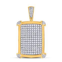 2 & 1/5 CTW Mens Round Diamond Rectangle Charm Pendant 10kt Yellow Gold - REF-136X4T