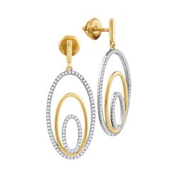 1/2 CTW Womens Round Diamond Oval Dangle Earrings 10kt Two-tone Gold - REF-44M4F