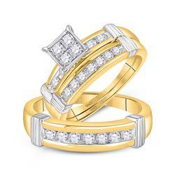 5/8 CTW His Hers Round Diamond Square Matching Wedding Set 10kt Yellow Gold - REF-84W5H