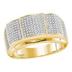 1/2 CTW Mens Round Diamond Band Ring 10kt Yellow Gold - REF-79R2X