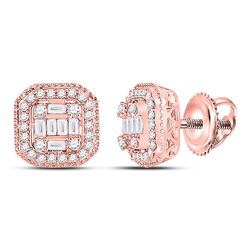 3/8 CTW Womens Baguette Diamond Cluster Fashion Earrings 14kt Rose Gold - REF-47H6R