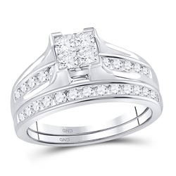 1 CTW Princess Diamond Bridal Wedding Ring 14kt White Gold - REF-109H3R