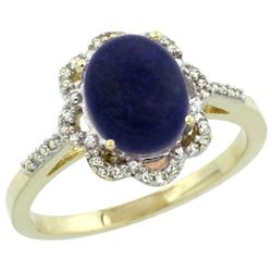 1.98 CTW Lapis Lazuli & Diamond Ring 14K Yellow Gold - REF-44A2X