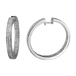 1.39 CTW Diamond Earrings 14K White Gold - REF-159W4H