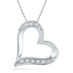 0.03 CTW Womens Round Diamond Heart Outline Pendant 10kt White Gold - REF-6N3A