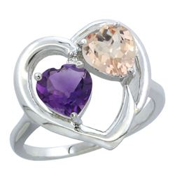 1.91 CTW Diamond, Amethyst & Morganite Ring 14K White Gold - REF-36V6R