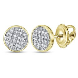 1/12 CTW Mens Round Diamond Circle Cluster Stud Earrings 10kt Yellow Gold - REF-13R2X