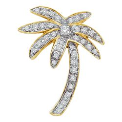 1/4 CTW Womens Round Diamond Palm Tree Nautical Pendant 14kt Yellow Gold - REF-44M4F