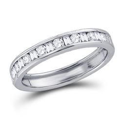 1/4 CTW Womens Round Baguette Diamond Channel-set Wedding Band Ring 14kt White Gold - REF-29Y9N