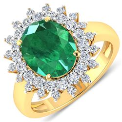 Natural 3.93 CTW Zambian Emerald & Diamond Ring 14K Yellow Gold - REF-169F5R
