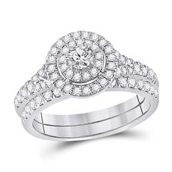 1 CTW Round Diamond Bridal Wedding Ring Band Set 10kt White Gold - REF-105A7M