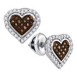 1/4 CTW Womens Round Brown Diamond Heart Cluster Earrings 10kt White Gold - REF-20Y5N