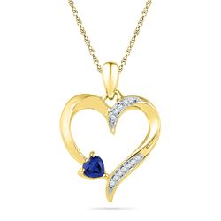 1/20 CTW Womens Round Lab-Created Blue Sapphire Heart Pendant 10kt Yellow Gold - REF-12N2A