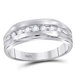 1/4 CTW Mens Round Diamond Wedding Single Row Band Ring 10kt White Gold - REF-34F8W