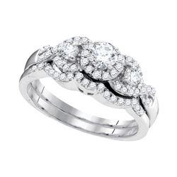 5/8 CTW Round Diamond Bridal Wedding Ring 10k White Gold - REF-58F2W