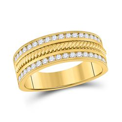 3/4 CTW Mens Round Diamond Wedding Rope Band Ring 14kt Yellow Gold - REF-112Y5N