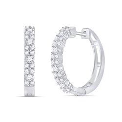 3/4 CTW Womens Round Diamond Hoop Earrings 14kt White Gold - REF-61N4A