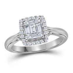 3/8 CTW Baguette Diamond Square Bridal Wedding Engagement Ring 18kt White Gold - REF-102Y3N
