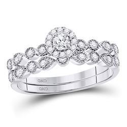 1/3 CTW Round Diamond Stackable Bridal Wedding Ring 10kt White Gold - REF-46A3M