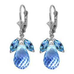 Genuine 14.4 ctw Blue Topaz Earrings 14KT White Gold - REF-46N7R