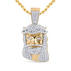 3/4 CTW Mens Round Diamond Jesus Face Charm Pendant 10kt Yellow Gold - REF-68A2M