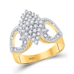 1/2 CTW Womens Round Diamond Cluster Heart Ring 10kt Yellow Gold - REF-42X8T