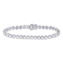 6 CTW Womens Round Diamond Tennis Bracelet 14kt White Gold - REF-450M2F