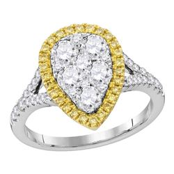 1 & 1/2 CTW Womens Round Yellow Diamond Teardrop Ring 18kt White Gold - REF-259A3M