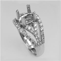 0.91 CTW Diamond Semi Mount Ring 14K White Gold - REF-110N3Y