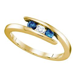 1/4 CTW Womens Round Blue Color Enhanced Diamond 3-stone Ring 10kt Yellow Gold - REF-21Y2N