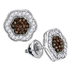 1/2 CTW Womens Round Brown Diamond Polygon Cluster Earrings 10kt White Gold - REF-24N5A