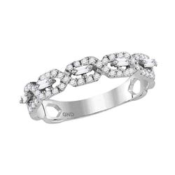 1/3 CTW Womens Round Diamond Modern Twist Stackable Band Ring 14kt White Gold - REF-34H3R