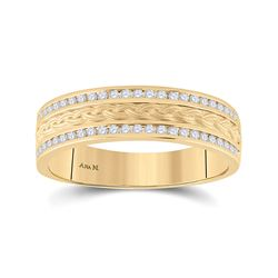 1/3 CTW Mens Round Diamond Wedding Braid Band Ring 14kt Yellow Gold - REF-91X4T
