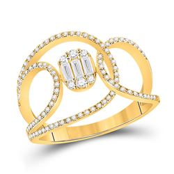 1/2 CTW Womens Baguette Diamond Open Loop Cluster Fashion Ring 14kt Yellow Gold - REF-54H5R