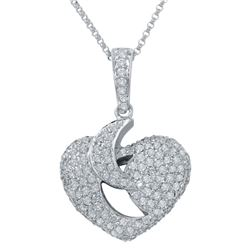 1.31 CTW Diamond Pendant 14K White Gold - REF-89R2K