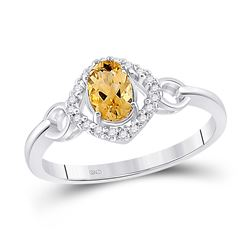 1/2 CTW Womens Oval Lab-Created Citrine Diamond Solitaire Ring 10kt White Gold - REF-23F9W