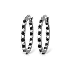 Genuine 0.81 ctw White & Black Diamond Earrings 14KT White Gold - REF-116R6P