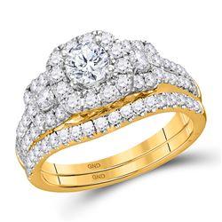1 & 1/2 CTW Round Diamond 3-stone Bridal Wedding Engagement Ring 14kt Yellow Gold - REF-211R4X