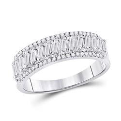 1/2 CTW Womens Baguette Diamond Anniversary Band Ring 14kt White Gold - REF-61R4X